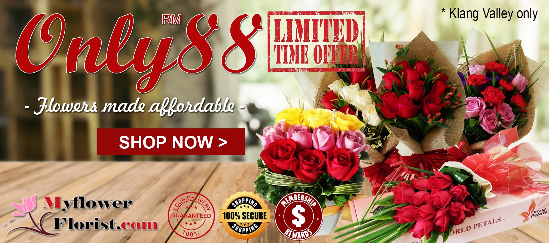 Only 88 | Flowers Made Affordable | RM88 Bouquets & Arrangements by Myflowerflorist.com